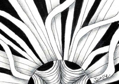 Zentangle Kachel mit Fullmoonmosaik und Mustern Peeld und Crescent Moon