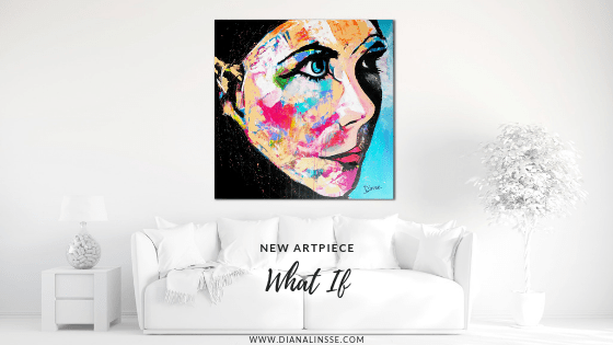 New Artpiece - What If - Was wäre wenn es einfach wäre - Acrylic and Charcoal on 100x100 cm Canvas, Expressive Abstact, modernes Bild über Sofa hängend, Portrait, farbenfroh