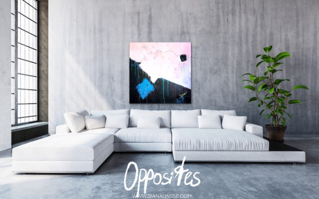 Gegensätze - Opposites new contemporary art by Diana Linsse - painting on the wall in a modern living room - home decor