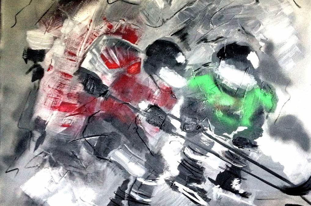 moveonice, 100x100 cm, Acryl/Mixed